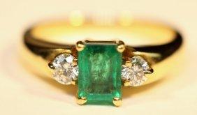 18kyg Emerald & Diamond Ring