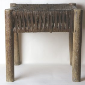 Antique Arts & Crafts Leather Woven Foot Stool