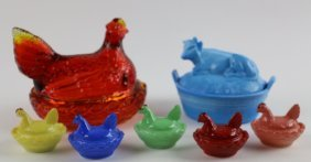 Depression Era Rooster And Cow Covered Glass