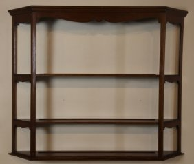 Mahogany Vintage Hanging Three Tier Wall Shelf