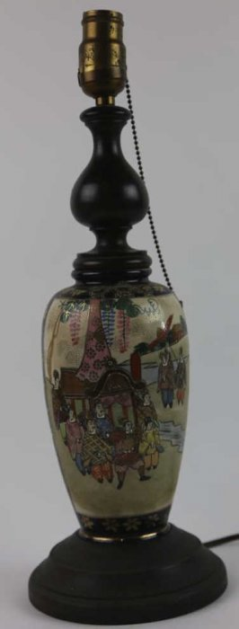 Japanese Antique Satsuma Vase Mounted Lamp
