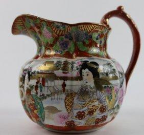 Japanese Vintage Geisha Kutani Porcelain Pitcher