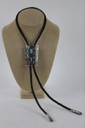 Native American Sterling Silver Turquoise Bolo