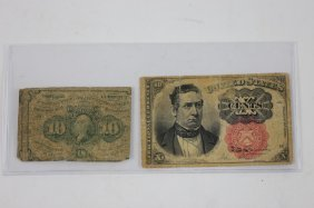 Antique American Fractional Currency Notes