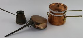 Antique Copper Cookware Grouping