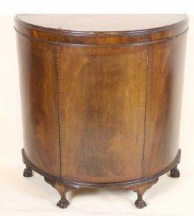 English Antique Chippendale Demi-lune Cabinet