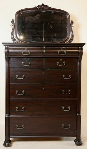 Antique Mahogany Mirrored Back High Chest