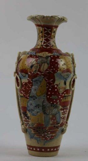 Japanese Antique Moirage Satsuma Vase