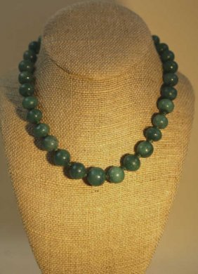Antique 14kyg Malachite Hand Knotted Bead Strand