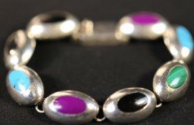 Sterling Silver Hard Stone Mounted Bracelet