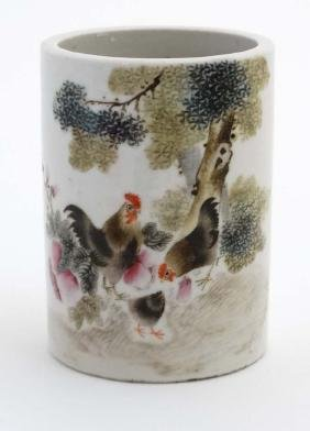 A Chinese Famille Rose Brush Pot Decorated With