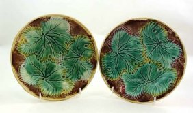 A Pair Of Moulded Majolica Leaf Plates, Decorated