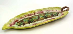 A Majolica Polychrome Handled Serving Dish In The
