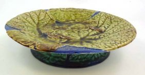A Polychrome Majolica Short Tazza Moulded With Det