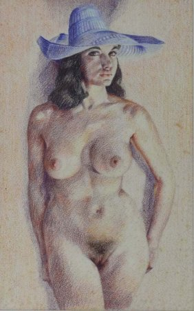 Wilfred Glyndon May (1922 - 2007) Coloured Pencils Nude