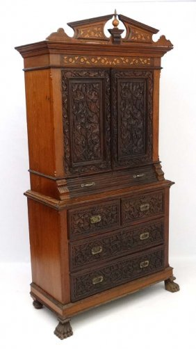 A Dutch East Indies / Dutch Colonial Inlaid And Carved