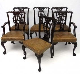 A 19thc Set Of 6 (4+2) Mahogany Leather Seated
