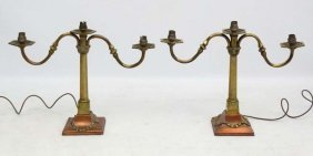 A Pair Of Brass And Copper Electric 3-light Candelabrum