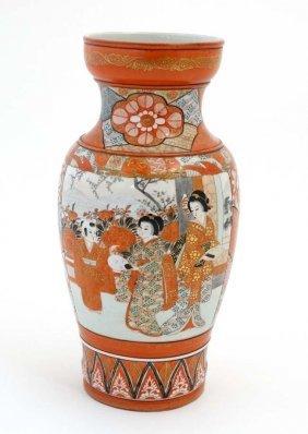 A Large 19thc Japanese Kutani , Decorated With Exotic
