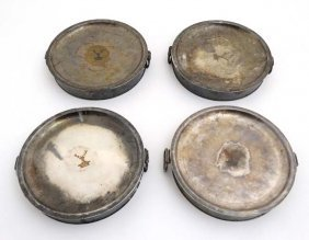 Four 19thc Silver Plate Warmers Of Circular Form With
