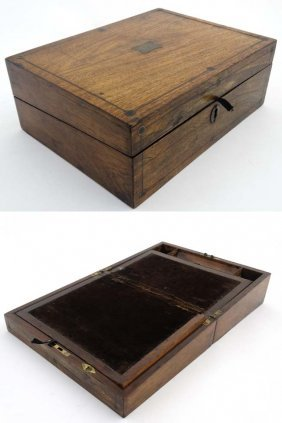 A Victorian Rosewood Folding Writing Slope / Lap Desk .