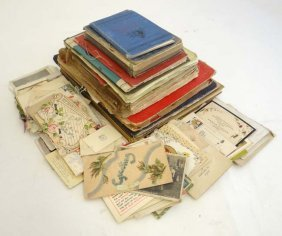 A Collection Of Early 20thc Postcards, Scrap Books And