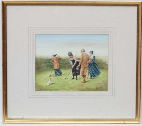H Brandon Xx Watercolour Late Victorian Lady Golfers