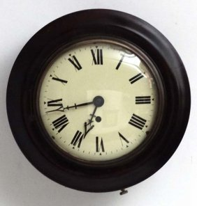 Clock : An 8'' Convex Dial Mahogany Cased Wire Fusee