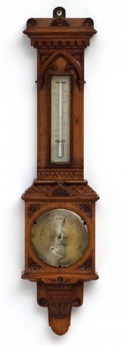 Barometer : ' Negretti And Zambra ' Gothic Oak Cased 2