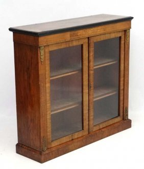 A 19thc Inlaid Burr Walnut 2-door Display Cabinet 42''