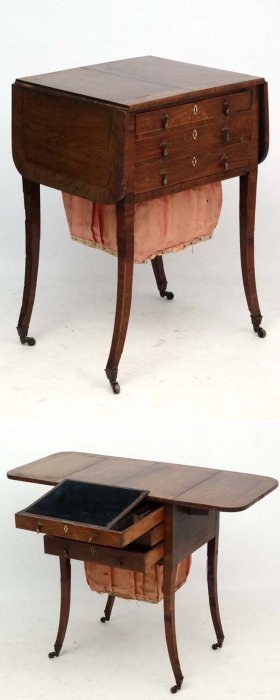 A Regency Rosewood Ladies Work Box / Table With Two