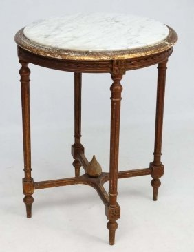 A 19thc Continental Circular Table With Carrara Marble