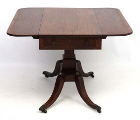 A Regency Mahogany Pedestal Sofa Table With One Real