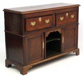 Small Dresser Base : An 18thc 2 Drawer Oak Dresser
