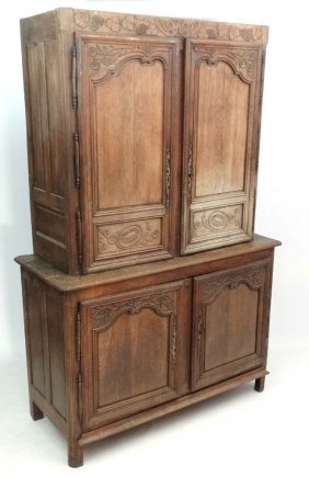 A Late 19thc French Farmhouse Cupboard On Cupboard.