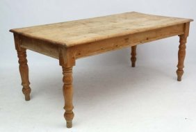 A Victorian Stripped Pine Kitchen Table 72'' Long X