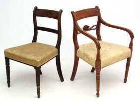 2 Late Regency Over Stuffed Mahogany Dining Chairs.