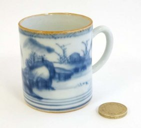 A Small Oriental Blue And White Coffee Can Decorated