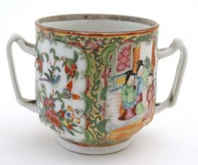 A 19thc Chinese Export Cantonese Famille Rose 2 Handled