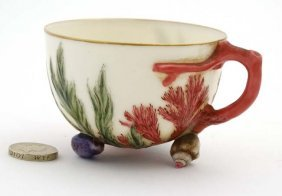 A 19thc Teacup Decorated In Pink And Green With Seaweed
