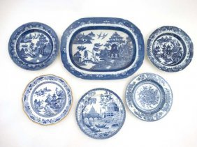 A Collection Of 4 19thc Blue And White Transfer Printed