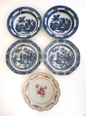 A Collection Of 5 Chinese Plates To Include; A Pair Of