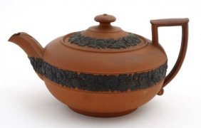 A 19thc Wedgewood '' Rosso Antico '' Teapot With Black