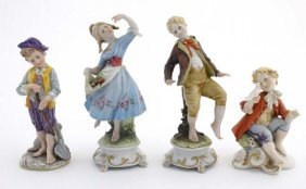 A Collection Of Four Capodimonte Figures To Include : A