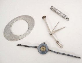 Assorted Items Comprising A .935 Silver Ladies Wrist