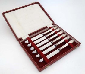 A Cased Set Of 6 Hm Silver Handled Butter Knives