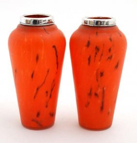 A Pair Of Glass Vases, The Red Opaque Glass Bodies With