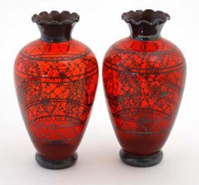 A Pair Of 20thc Ruby Glass Vases With Flared Rims And