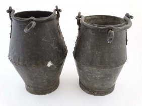 A Pair Of Early 20thc Well Buckets Of Galvanized