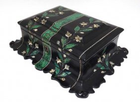 A Victorian Papier Mache Hinged Lidded Box With Faux